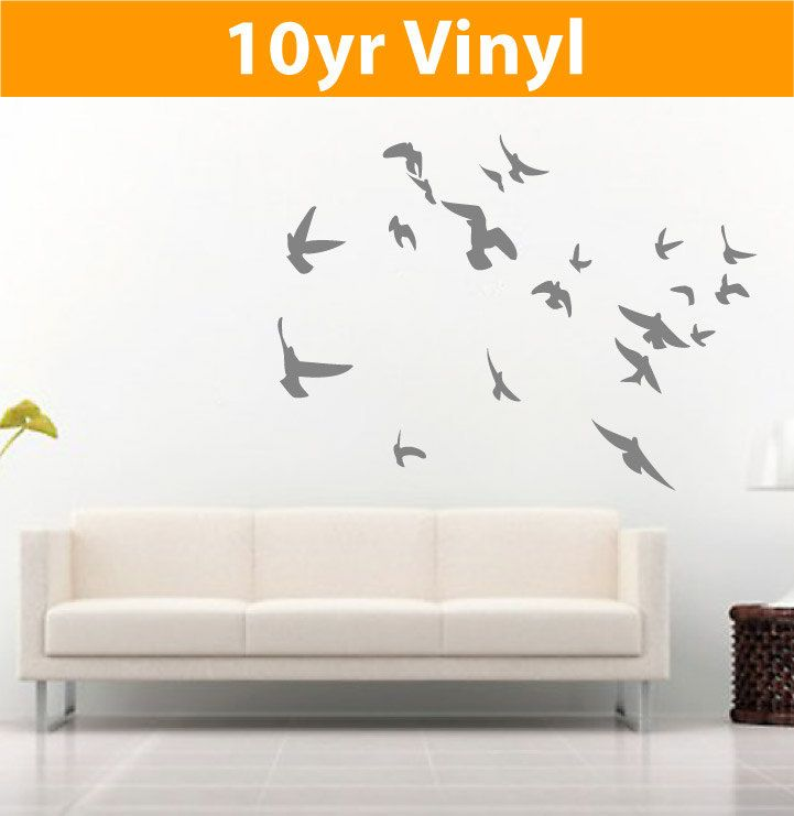 flock of flying birds set of 20 wall vinyl decal stickers