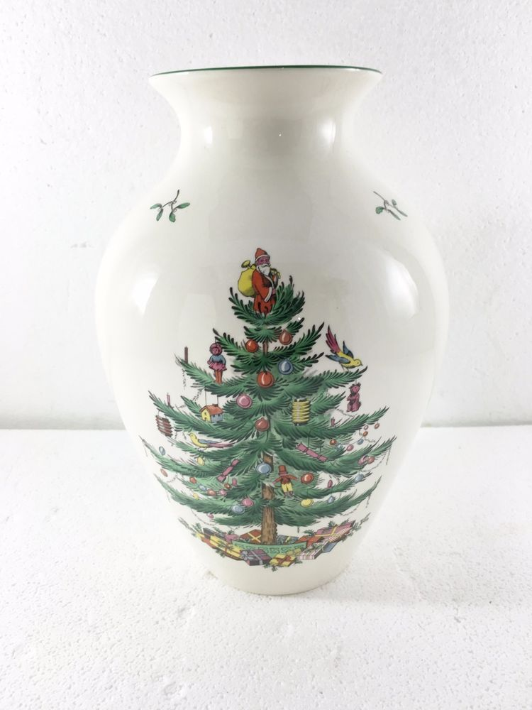 Spode Christmas Tree Large Flower Vase 10 1 2 Inches New