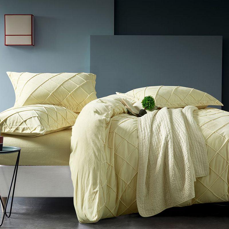 Yellow Grid Designer Bedding Set Queen Size Winter Duvet Cover Set Upgraded  Velvet High Quality Handmade