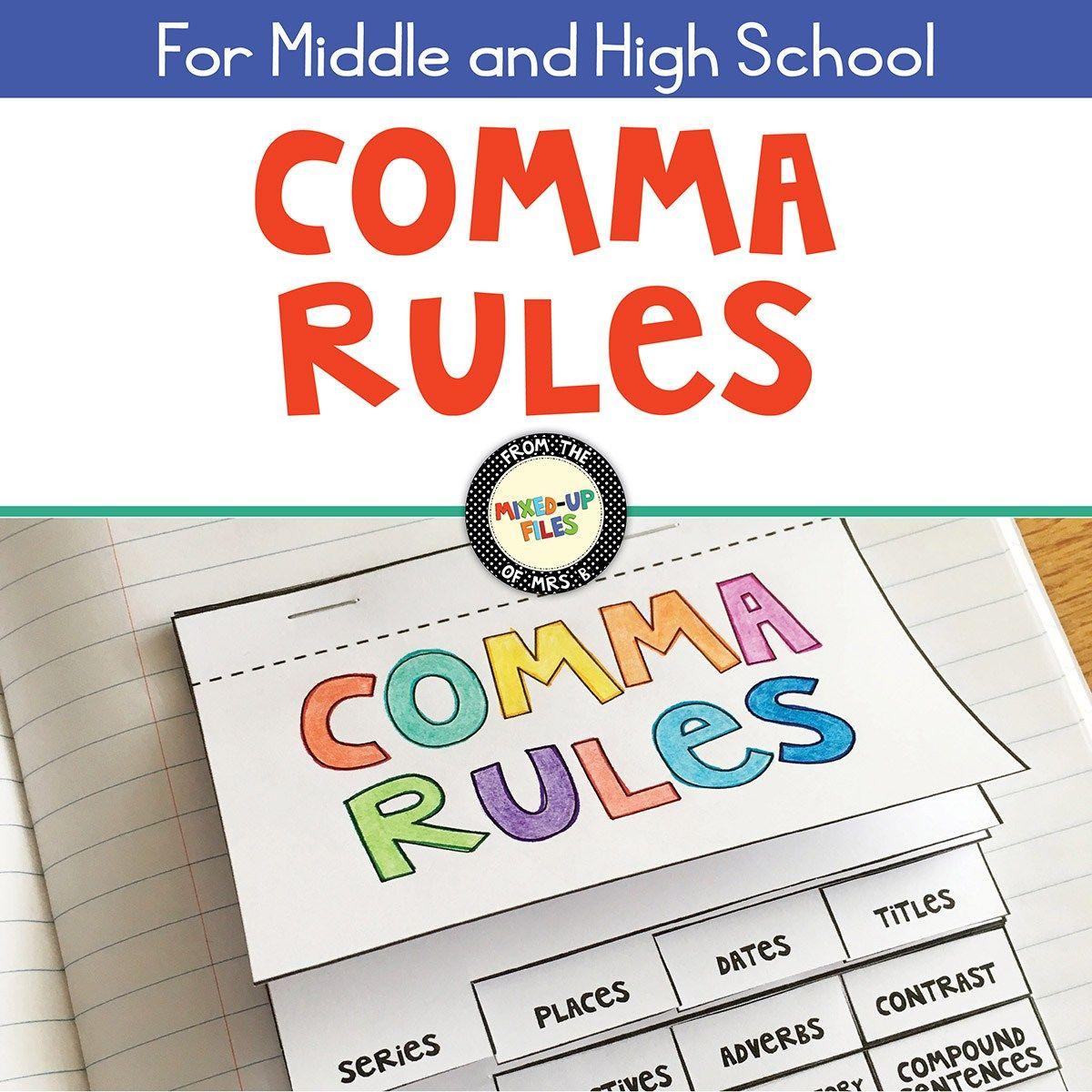 Comma Rules Flip Book Interactive Notebook
