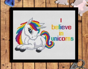 Unicorn cross stitch pattern Modern design Inspirational Quote cross stitch Magic unicorn embroidery hoop art decor Funny cross stitch PDF