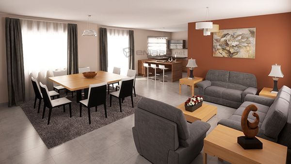 3d render de sala comedor de casa arquitectura dise o de - Diseno de casas 3d ...