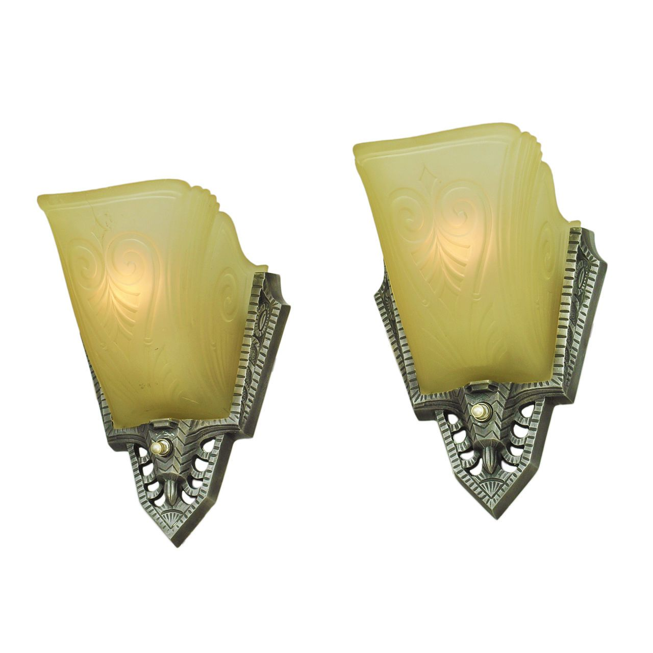 Art Deco Antique Wall Sconces Pair of 1930s Slip Shade Lights by ...