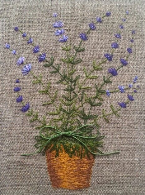 Flower Pot Hand Embroidery And Applique Pinterest Flower