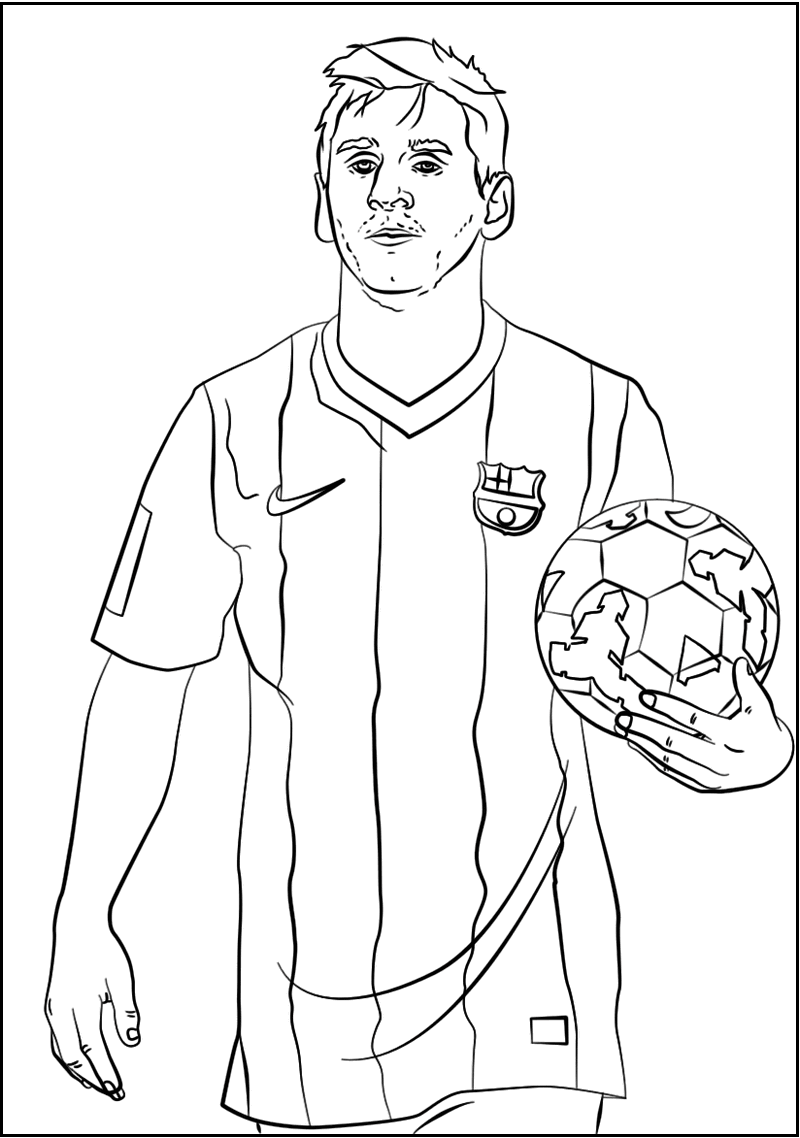 lionel messi soccer player coloring sheet  messi soccer