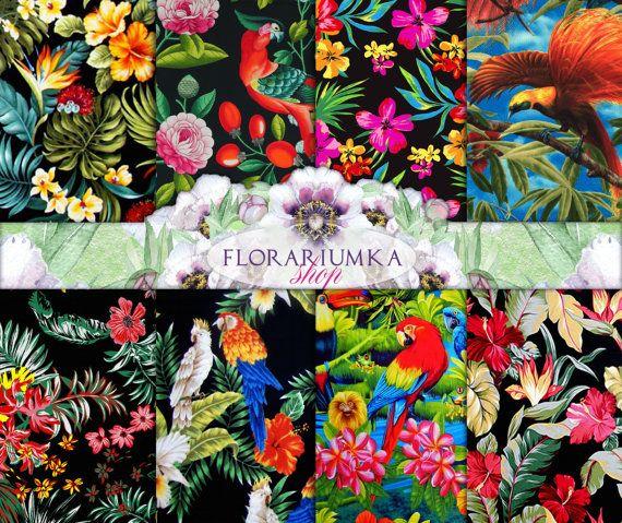 Hawaii Birds Download Floral Pattern Digital by FLORARIUMKA