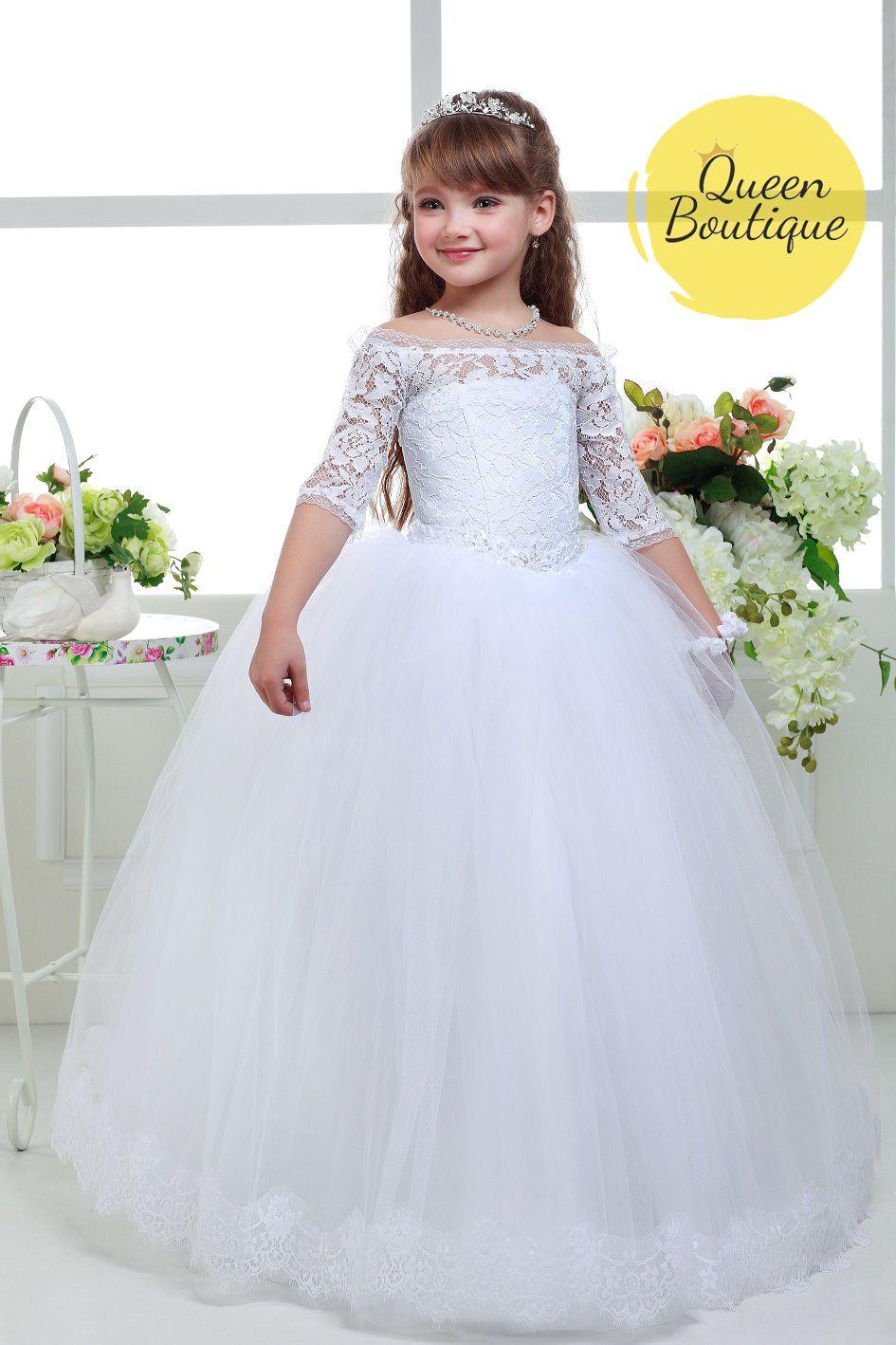 white flower girl dresses, white lace flower girl dresses, girls ...