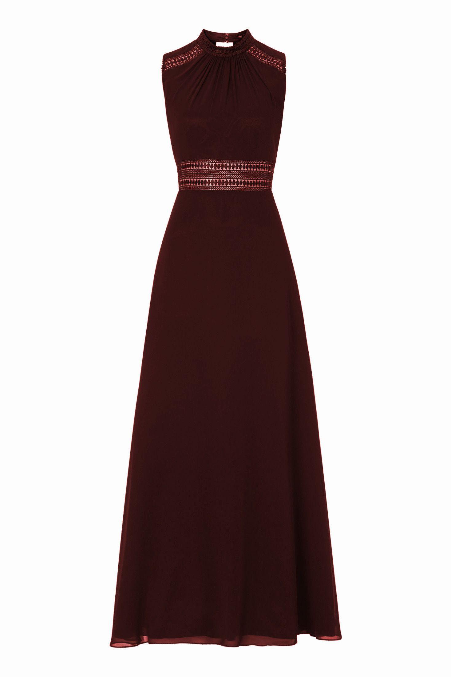 Langes Kleid Chiffon Häkelspitze Rotbraun Vera Mont  Mode