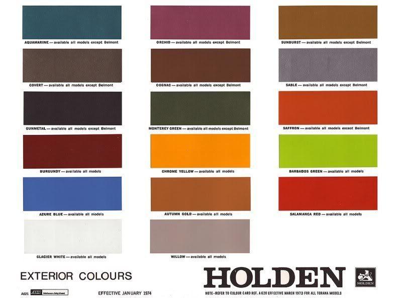 Monaro Colour Codes Monaro Shrine Paint Color Chart Paint Charts Paint Color Codes
