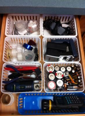 Organized junk drawer {featured on Home Storage Solutions 101}