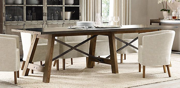 Zinc Top Railway Trestle Dining Table Restoration Hardware