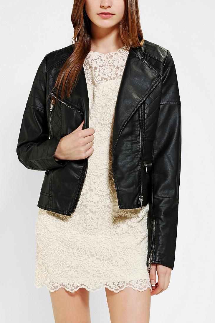 Members Only Quilted Vegan Leather Moto Jacket #urbanoutfitters