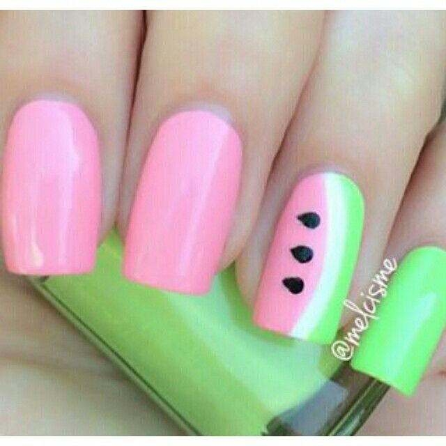 Uñas de sandia! | uñas | Pinterest | Uñas de sandia y Sandia