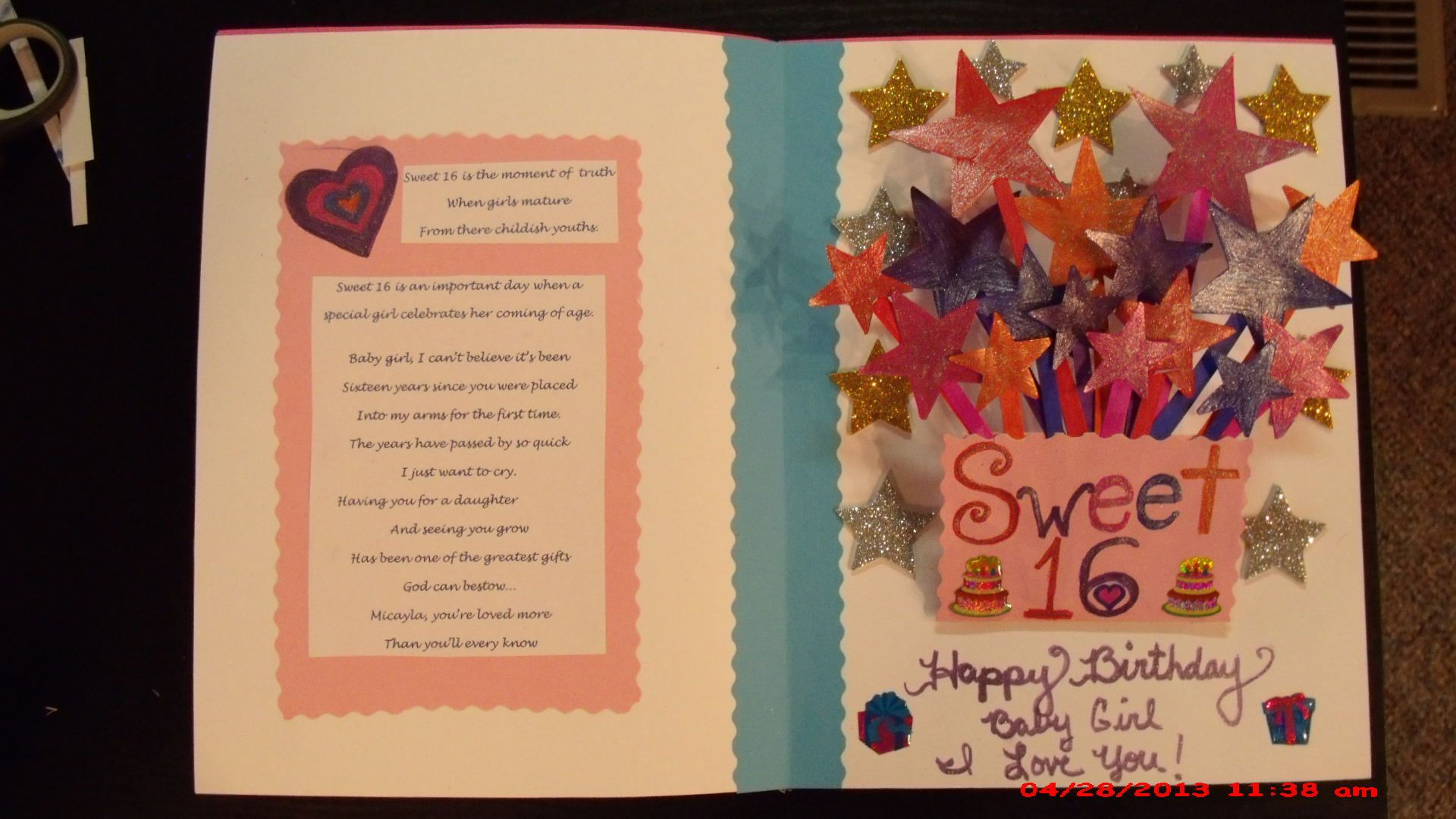 inside of sweet 16 birthday Card I created myself 16th