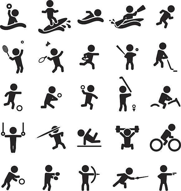 Conjunto De Iconos De Deporte Ilustracion De Arte Vectorial Dibujos Deportivos Deportes Dibujos Celulares Dibujo