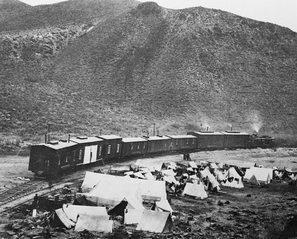 Chinese camp and construction train in Nevada when