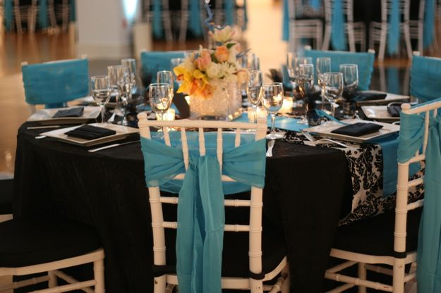 Tiffany Blue & Black Bridesmaids Dresses