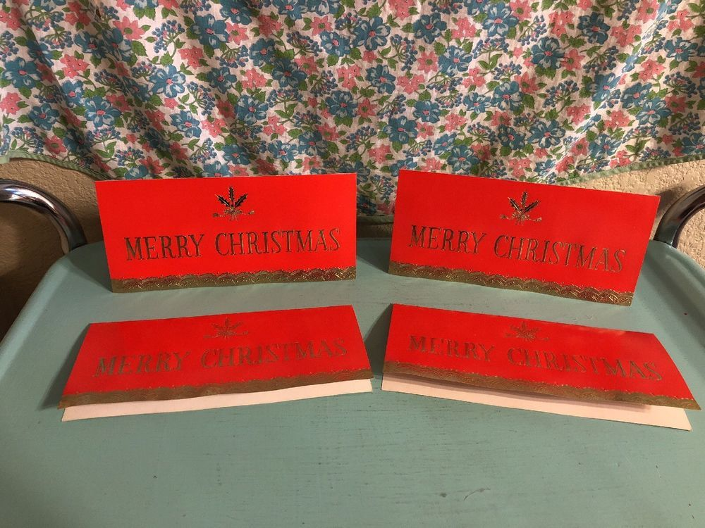 Vintage Christmas Cards Red Gold Merry Christmas A