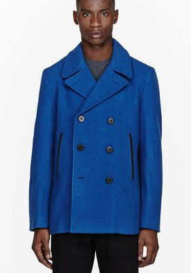 Blue Double Breasted Peacoat by Marc Jacobs