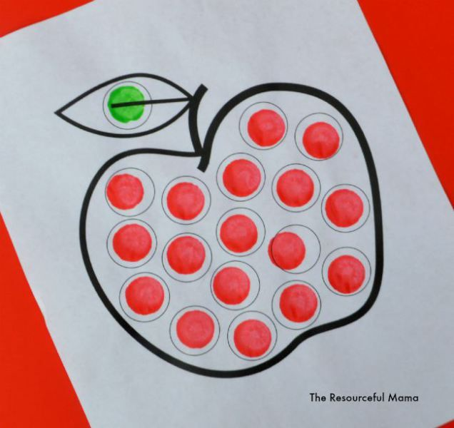 Apple Dot Painting (Dot Marker Printable | Worksheets, School and ...