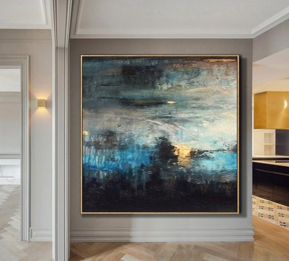 Oversize Original Painting Blue Painting Abstract Black Painting Texture Canvas Art Abstract Painting On Canvas Living Room Wall Art is part of Abstract painting - 2018