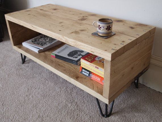 Reclaimed Wood Coffee Table Media Unit With Hairpin Legs