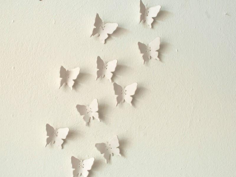 Great Porzellan D weisse Schmetterling Wanddeko