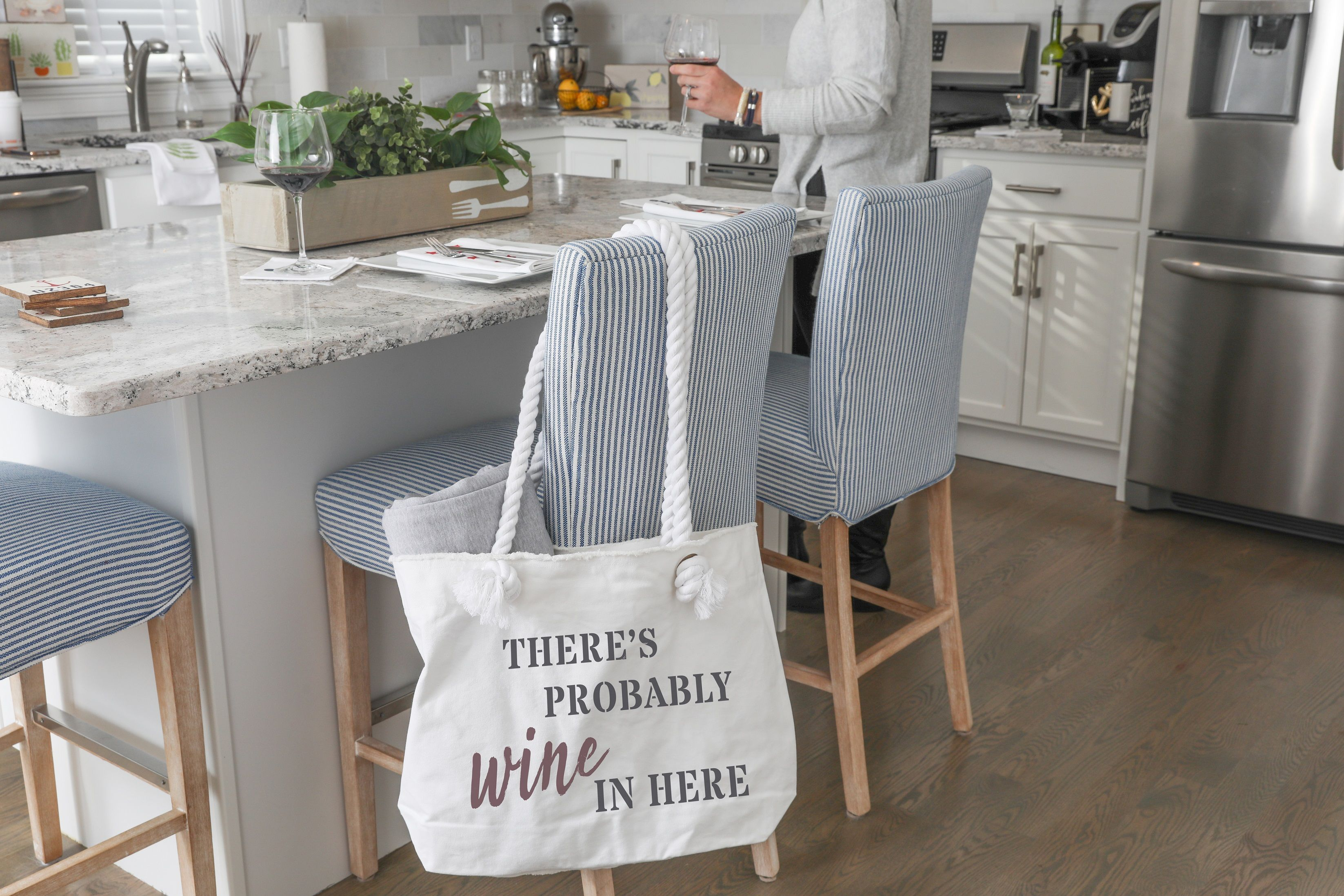 Wine In Here On The Go Tote Bag Rustic Marlin Home Décor