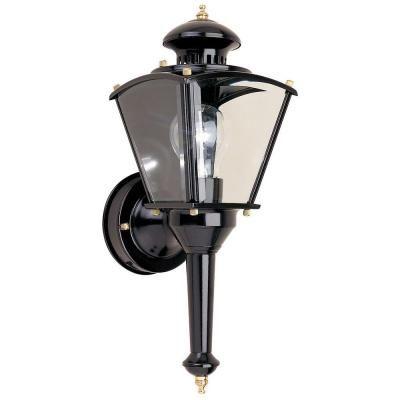 Hampton Bay Black Motion Sensing Outdoor Wall Lantern In