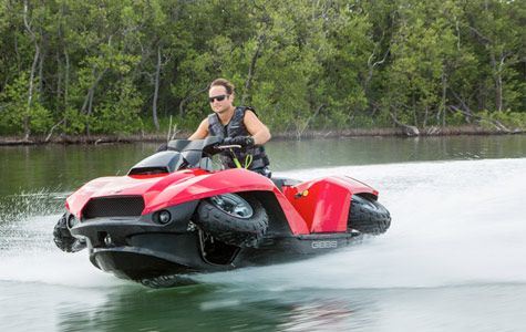 The Quadski Is A Hybrid Between An Atv Jet Ski In Just 4 Seconds With Push Of On S Wheels Retract Upon Entering Water