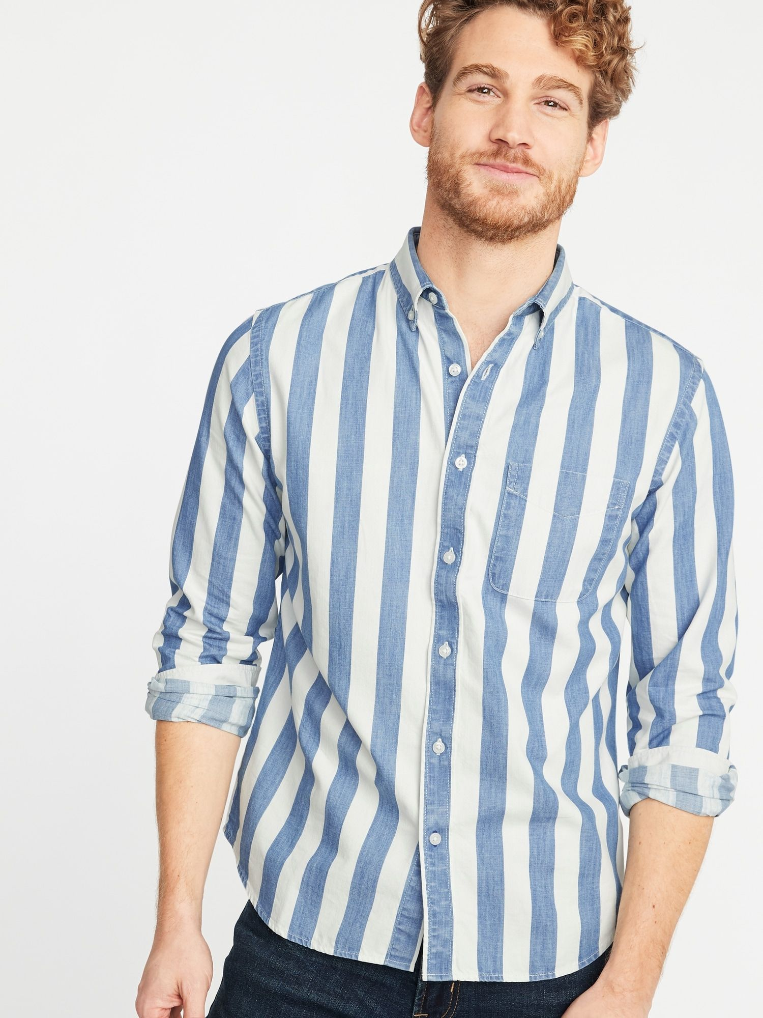 99fe21854a Slim-Fit Striped Twill Everyday Shirt for Men | Old Navy | What to ...