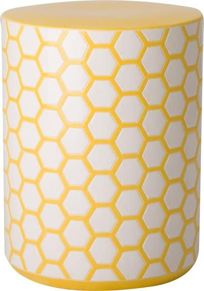 Beehive Garden Stool With A Yellow Glaze
