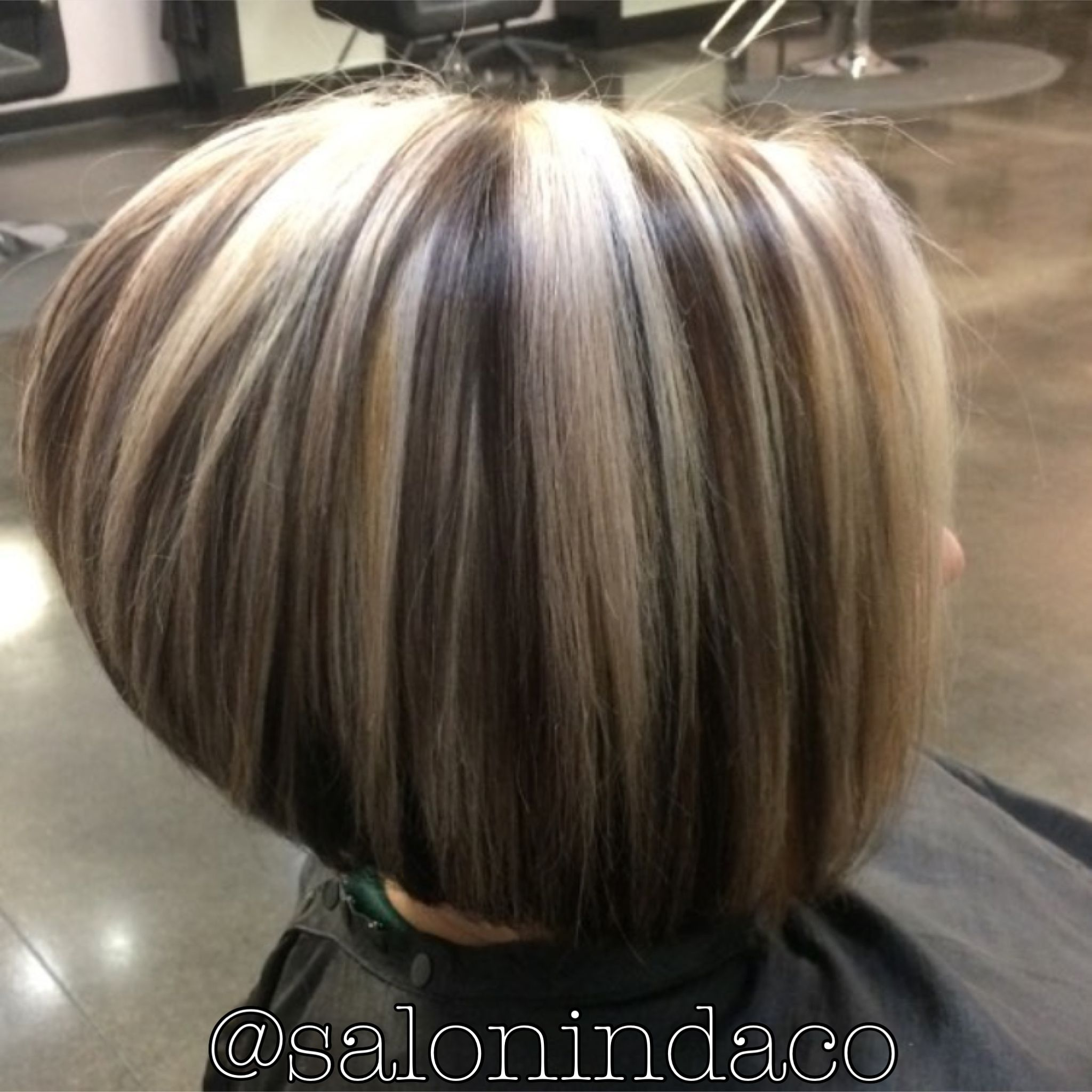High Contrast Color Chunky Ash Blonde Highlights With Dark Cocoa