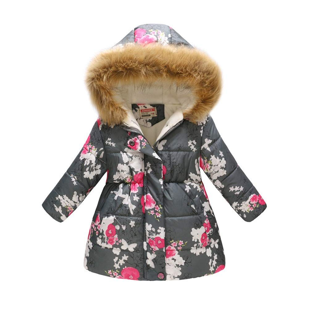 Fashion Kids Baby Girs Winter Fax Fur Fleece Lined Coat Warm Outwear Jackets