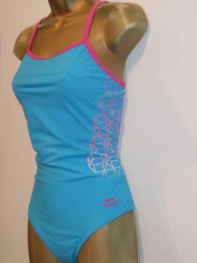 84d60f5fb9f LADIES TURQUOISE   PINK SLAZENGER RACER BACK SWIMSUIT SIZE 14 SWIMWEAR   fashion  clothing
