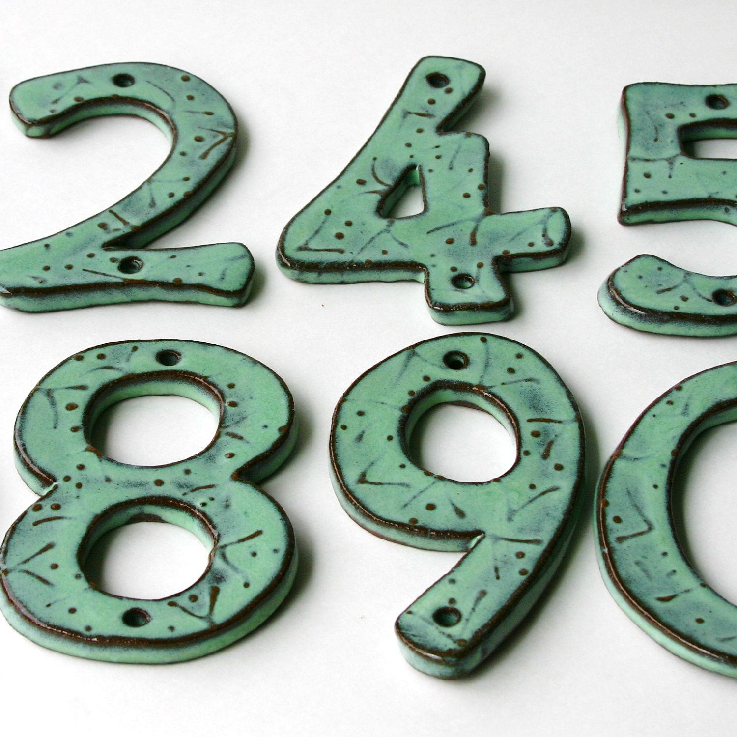 Modern House Numbers SET of 3 in Aqua Mist Color Outdoor