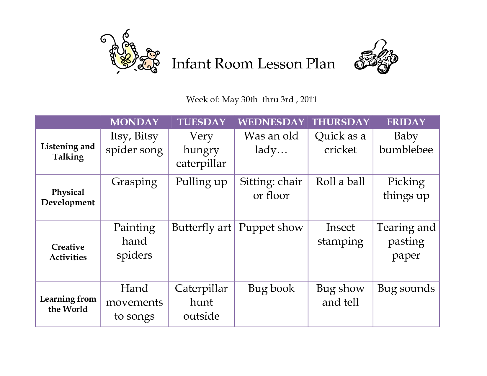 Creative Curriculum Blank Lesson Plan  June  Infant