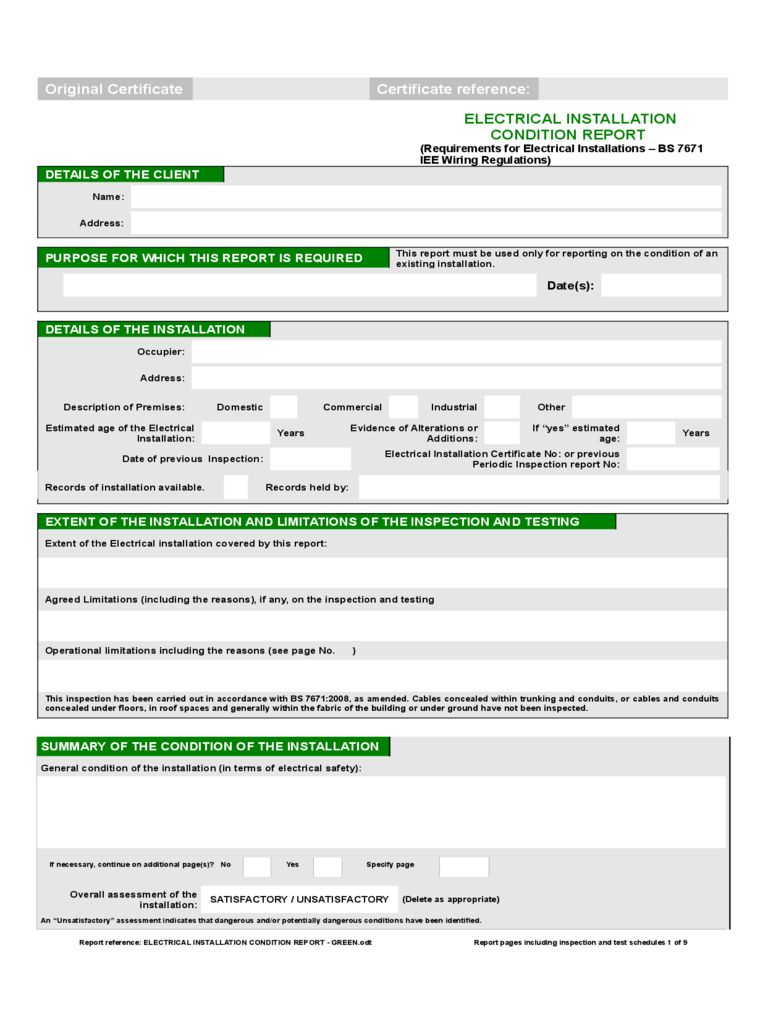 Electrical Installation Condition Report Form 2 Free Inside Electrical Installation Test Certifi In 2020 Certificate Templates Electrical Installation Best Templates