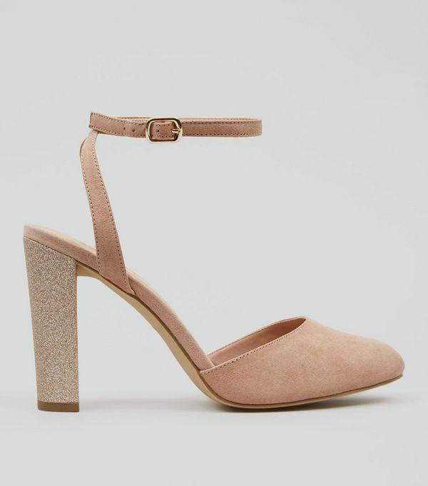 04787116a90e Wide Fit Nude Pink Suedette Glitter Block Heels