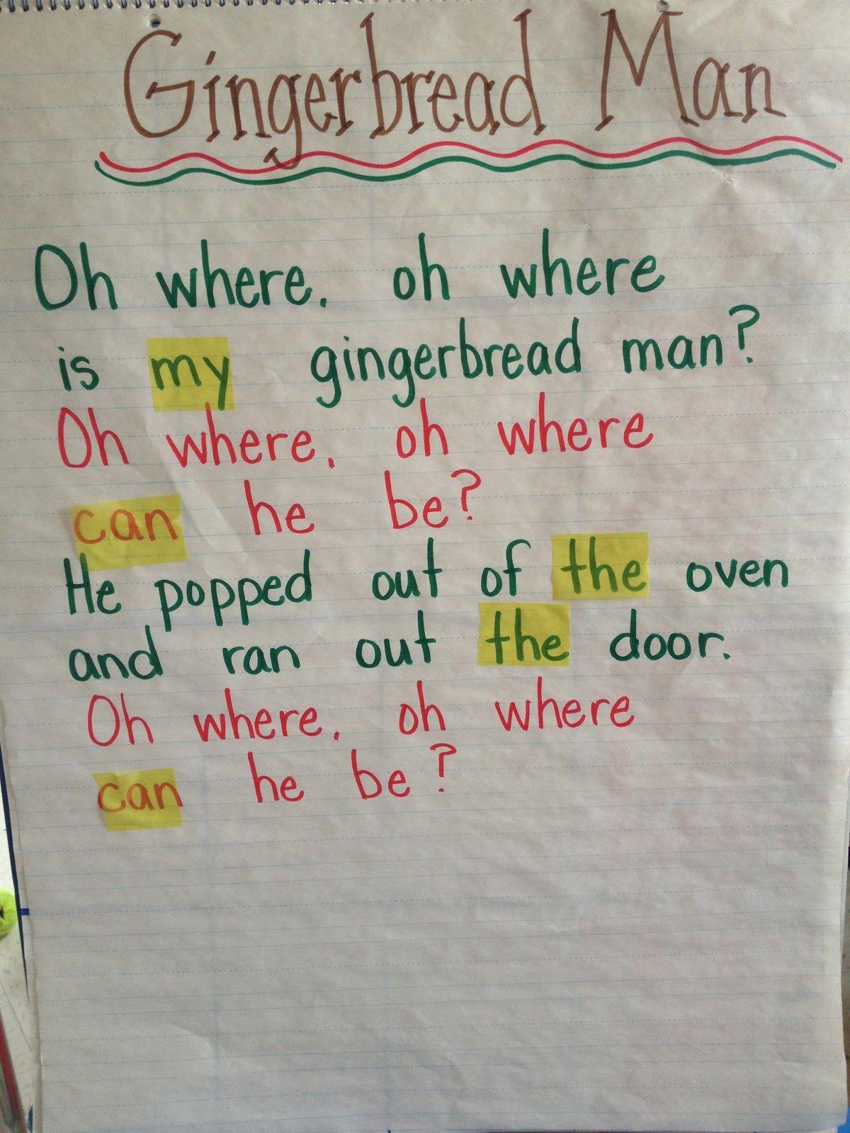 Mrs Pauley S Kindergarten Gingerbread Man Poem