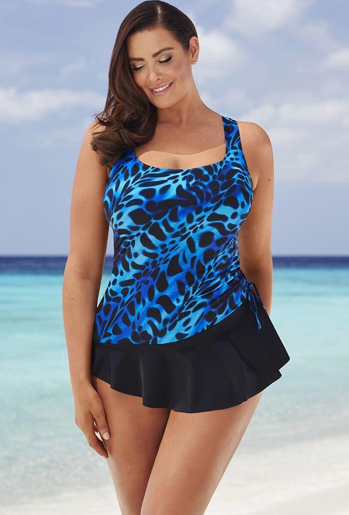 476d04866b Longitude Kitten Plus Size Tank Sarong Swimsuit   Plus Size ...