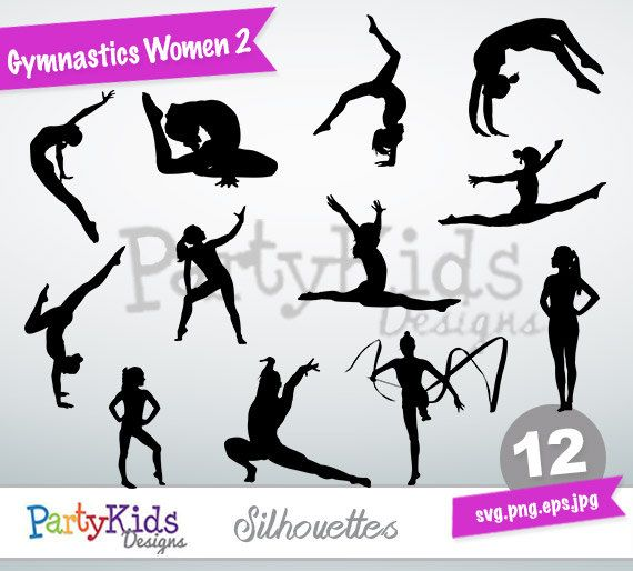 Gymnastic Women Silhouette, instant download, PNG, JPG, SVG, eps files Ps-205