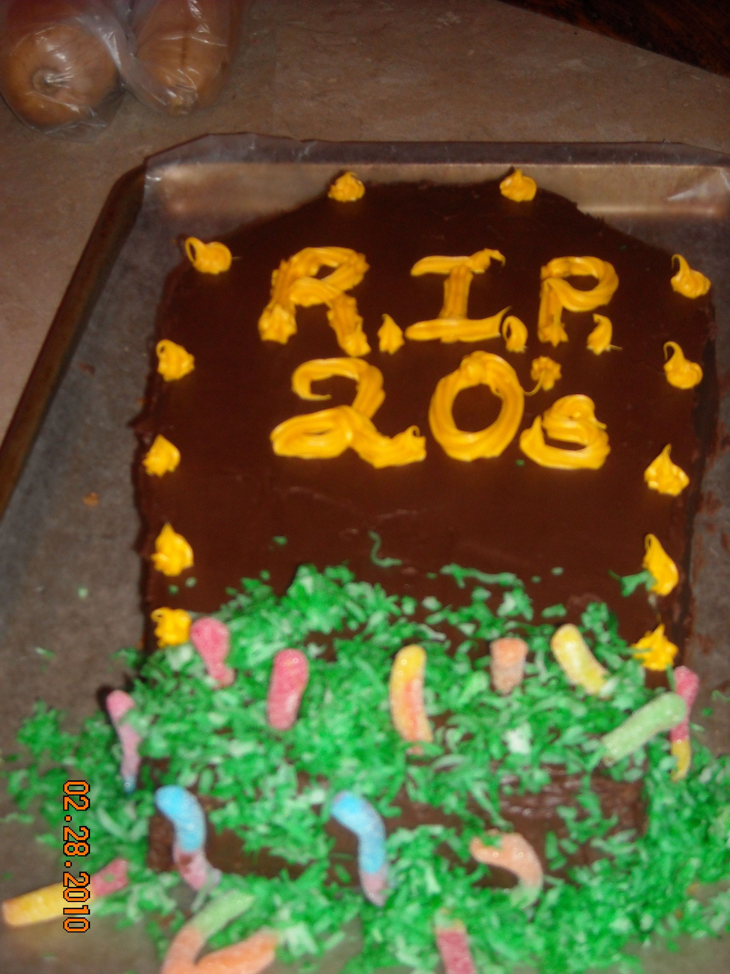 Turning 30 A Great Idea For Good Laugha Coffin Cake I Used Dyed Coconut And Gummy Worms At The Bottom To Add Effect