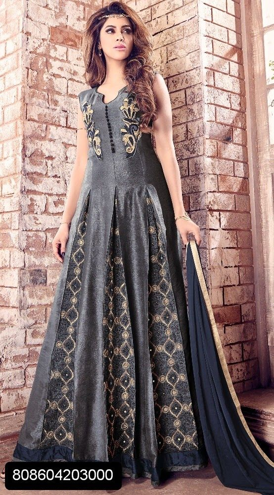 f7eb3dc970 Grey banarasi silk gown style floor length suit with resham and stone work  and dupatta with lace