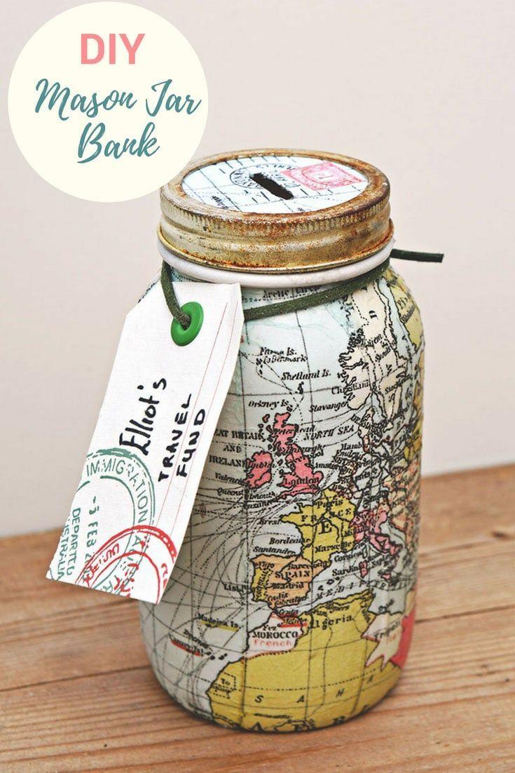 Make A Unique Map Mason Jar Bank For A Wonderful Gift - Pillar Box Blue