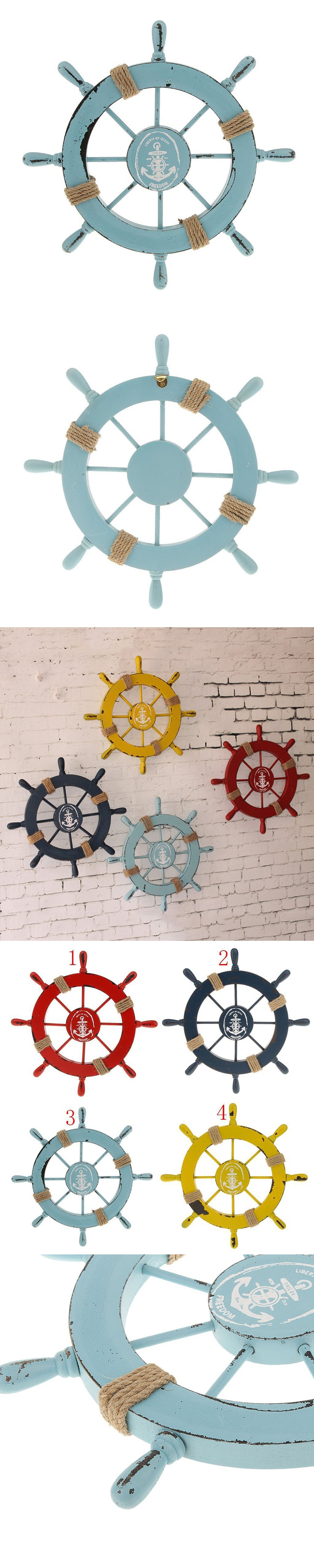 Mediterranean Nautical Wooden Boat Ship Wheel Helm Home Wall Party Decoration (Light Blue) $27.56
