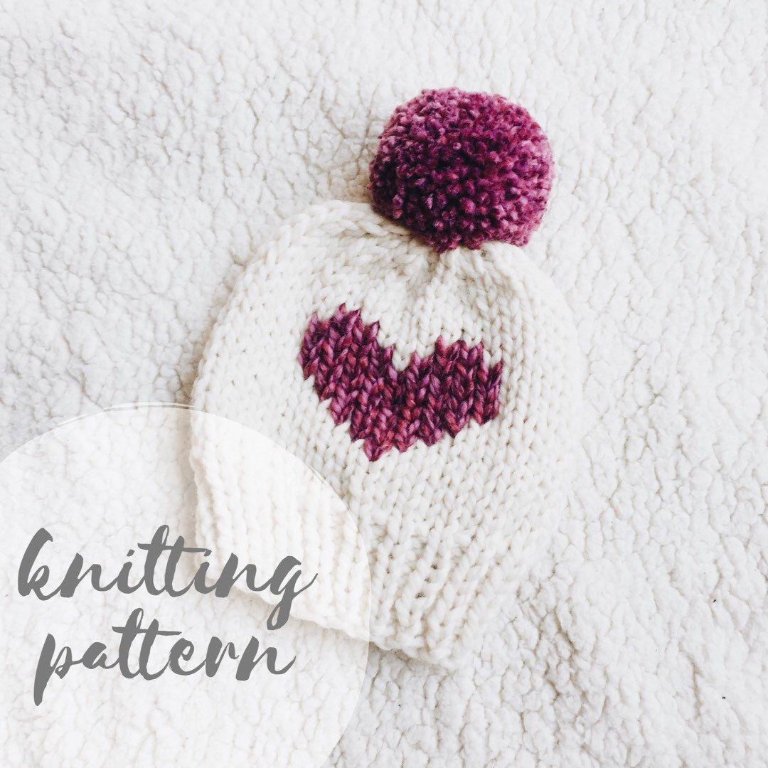 Knit hat pattern, knitting pattern, knitted beanie, heart hat ...