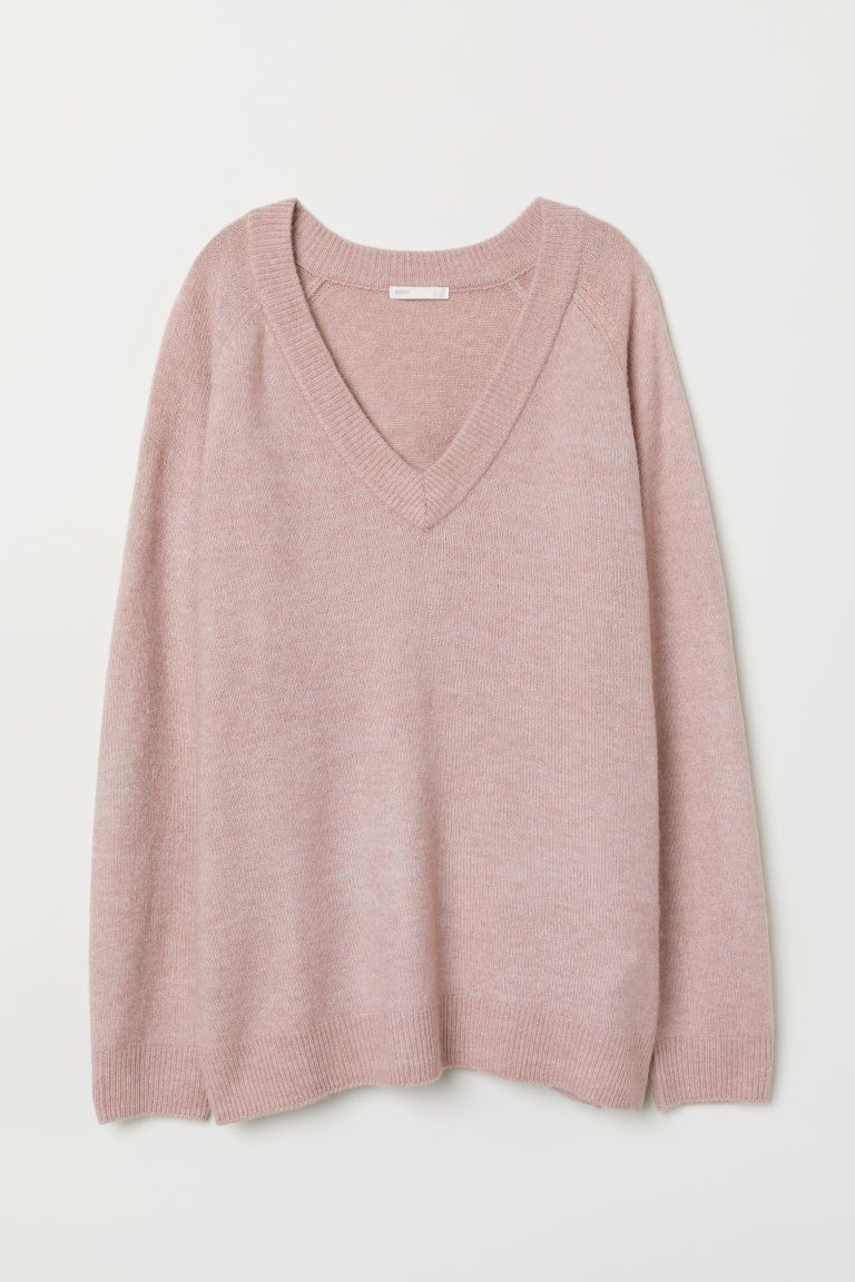 V Neck Sweater Dusty Rose Ladies H M Us 5 Pink Oversized Sweater Sweaters Vneck Sweater