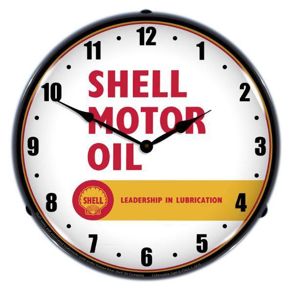 Shell motor oil leadership light up wall clock garage decor shell motor oil leadership light up wall clock mozeypictures Gallery