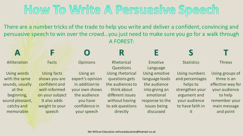How To Write A Persuasive Speech  English Resources And Citizenship